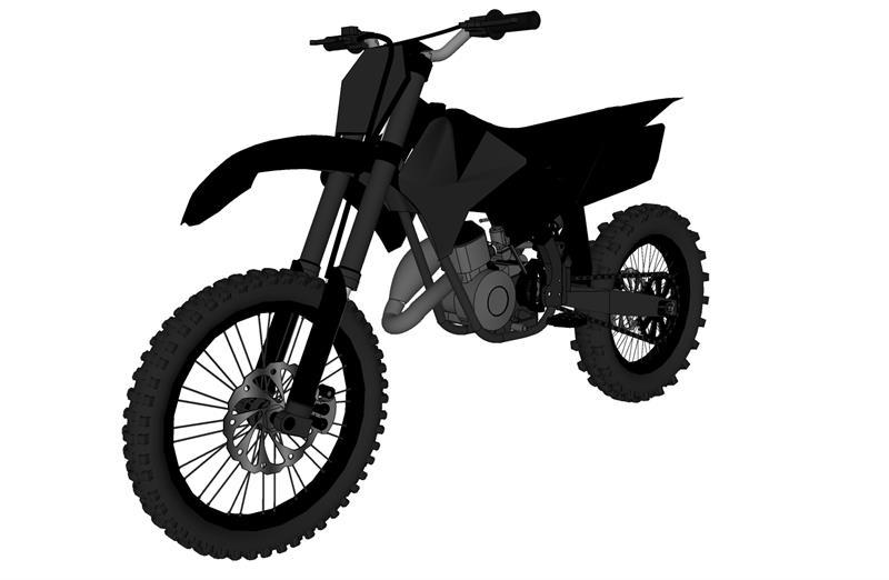 3D Model of Kawasaki KX-250 Stealth Dirt Bike